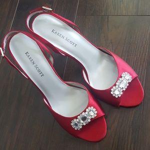 Karen Scott Jazz Red Strapy Heels Size 7